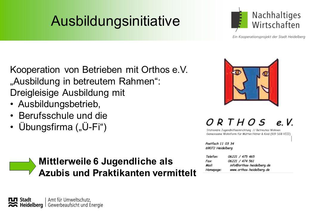 Ausbildungsinitiative Kooperation von Betrieben mit Orthos e.V. Ausbildung in betreutem Rahmen: Dreigleisige Ausbildung mit Ausbildungsbetrieb, Berufs