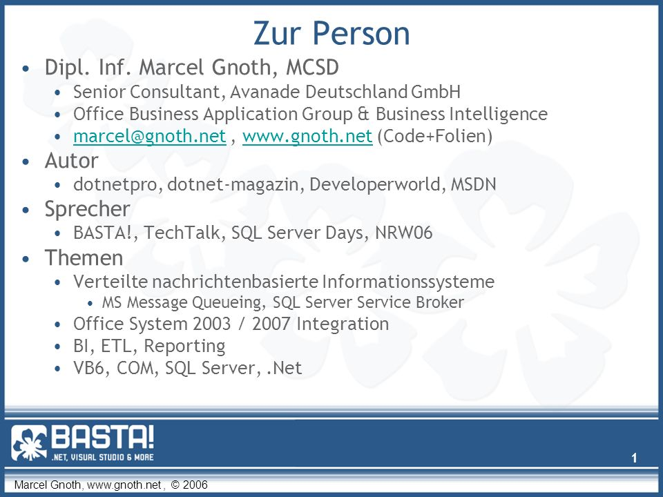 Marcel Gnoth, www.gnoth.net, © 2006 32 System.IO.Packaging WinFX /.Net 3 Referenz auf C:\WINDOWS\assembly\GAC_MSIL\WindowsBase\3.0.51116.0__31bf3856ad364e35\WindowsBase.dll Imports System.IO.Packaging Private wdPackage As Package Private corePropertiesPart As PackagePart wdPackage = Package.Open( _ docName, FileMode.Open, FileAccess.ReadWrite) corePropertiesPart = wdPackage.GetPart(corePropertiesUri) Imports System.IO.Packaging Private wdPackage As Package Private corePropertiesPart As PackagePart wdPackage = Package.Open( _ docName, FileMode.Open, FileAccess.ReadWrite) corePropertiesPart = wdPackage.GetPart(corePropertiesUri)