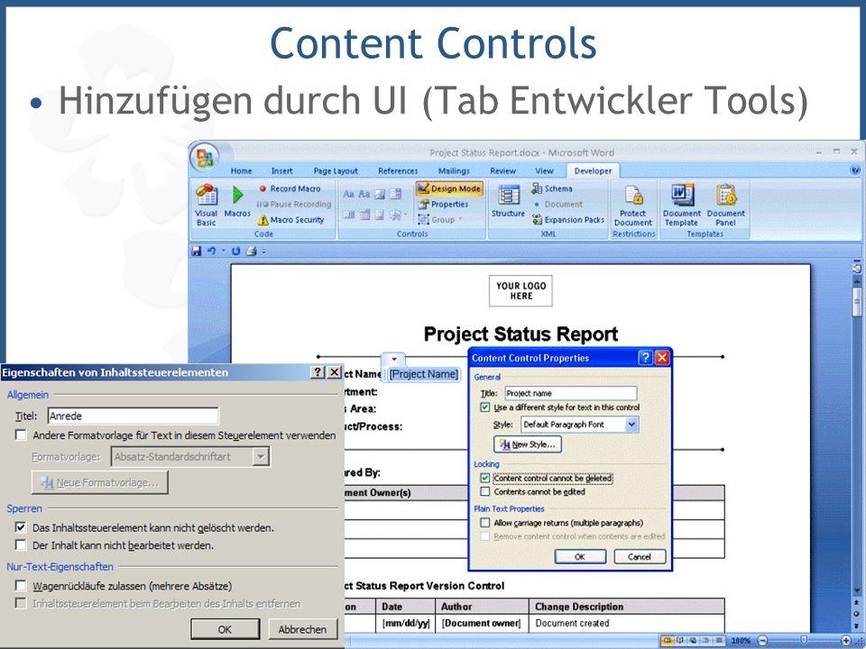 Marcel Gnoth, www.gnoth.net, © 2006 19 Content Controls Hinzufügen durch UI (Tab Entwickler Tools)