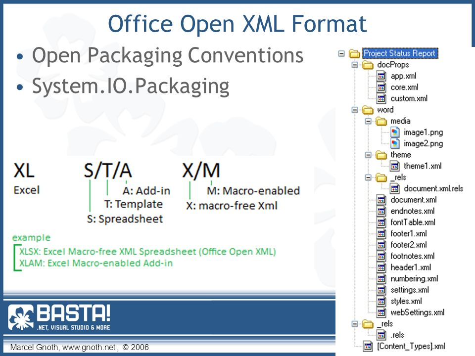 Marcel Gnoth, www.gnoth.net, © 2006 31 Office Open XML Format Open Packaging Conventions System.IO.Packaging