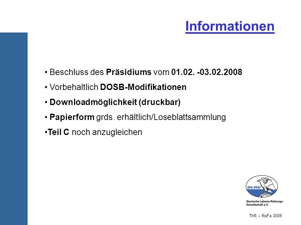 Informationen Beschluss des Präsidiums vom 01.02. -03.02.2008 Vorbehaltlich DOSB-Modifikationen Downloadmöglichkeit (druckbar) Papierform grds. erhält