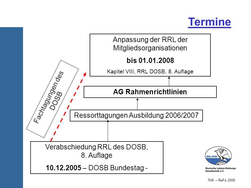 Verabschiedung RRL des DOSB, 8. Auflage 10.12.2005 – DOSB Bundestag - Anpassung der RRL der Mitgliedsorganisationen bis 01.01.2008 Kapitel VIII, RRL D
