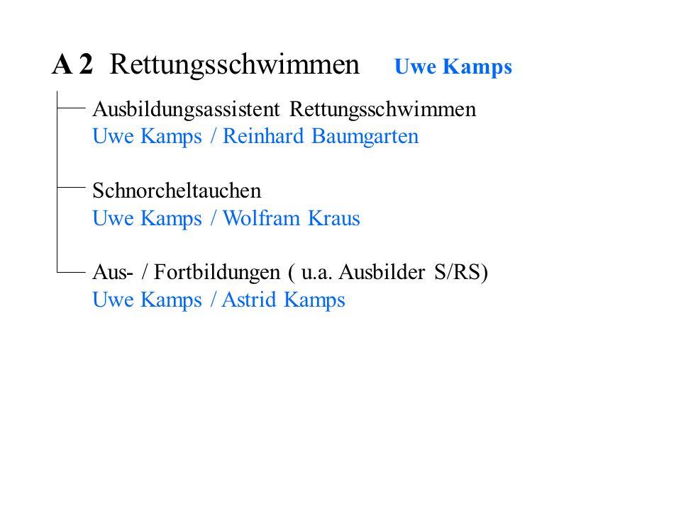 A 2 Rettungsschwimmen Uwe Kamps Ausbildungsassistent Rettungsschwimmen Uwe Kamps / Reinhard Baumgarten Schnorcheltauchen Uwe Kamps / Wolfram Kraus Aus