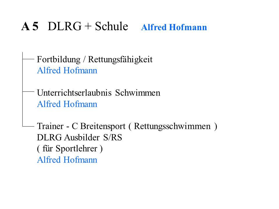 A 5 DLRG + Schule Alfred Hofmann Fortbildung / Rettungsfähigkeit Alfred Hofmann Unterrichtserlaubnis Schwimmen Alfred Hofmann Trainer - C Breitensport