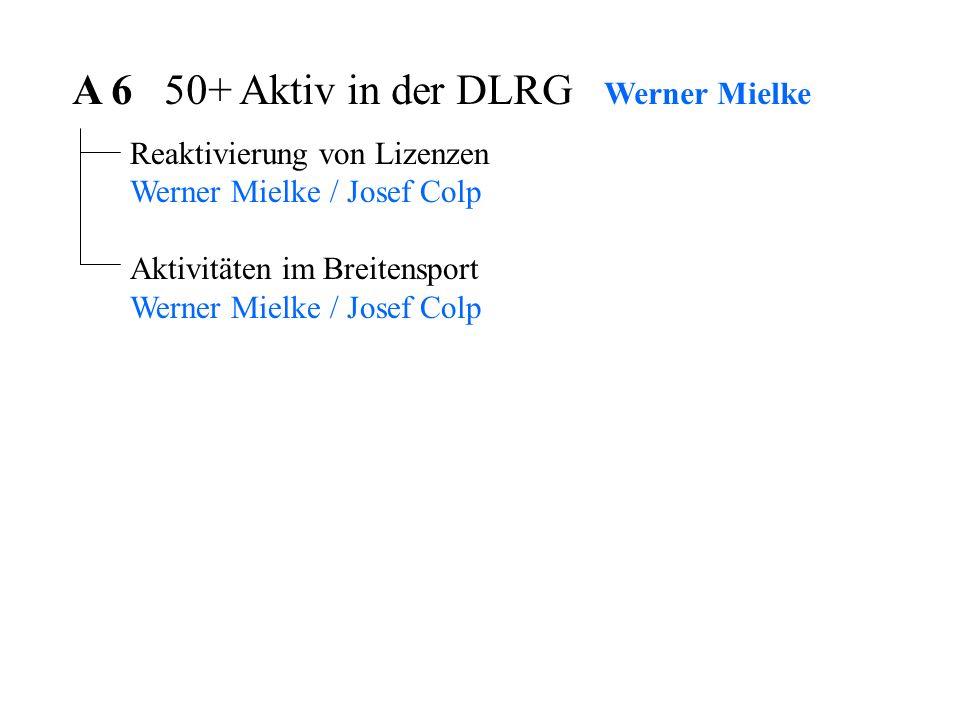 A 6 50+ Aktiv in der DLRG Werner Mielke Reaktivierung von Lizenzen Werner Mielke / Josef Colp Aktivitäten im Breitensport Werner Mielke / Josef Colp