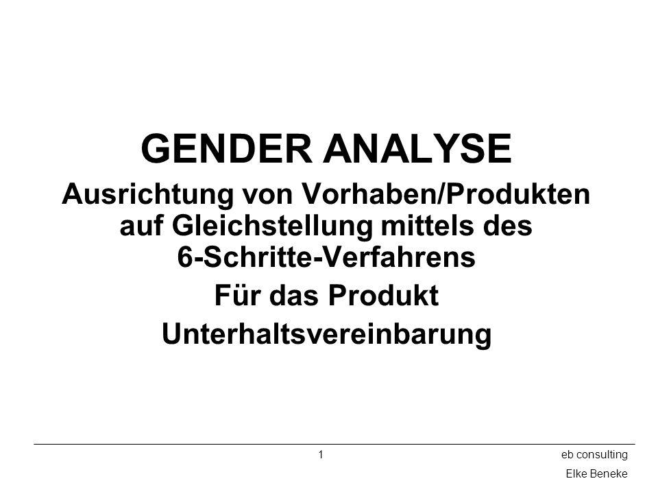 1eb consulting Elke Beneke GENDER ANALYSE Ausrichtung von Vorhaben/Produkten auf Gleichstellung mittels des 6-Schritte-Verfahrens Für das Produkt Unterhaltsvereinbarung