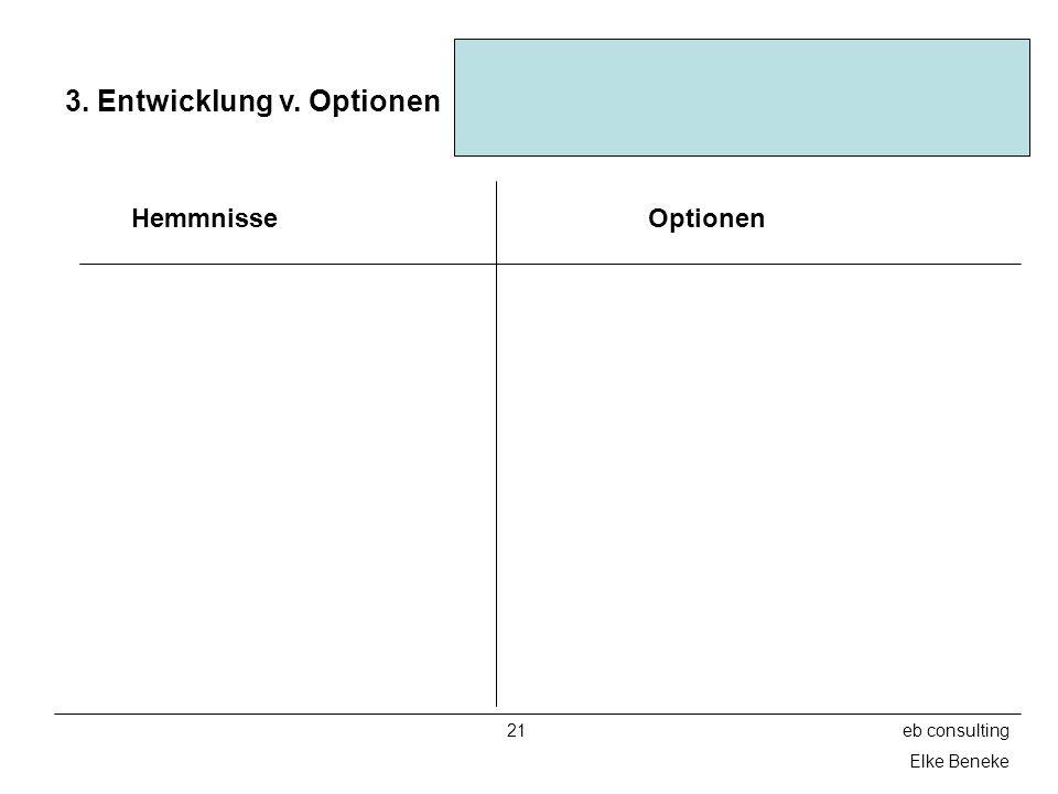 21eb consulting Elke Beneke 3. Entwicklung v. Optionen HemmnisseOptionen