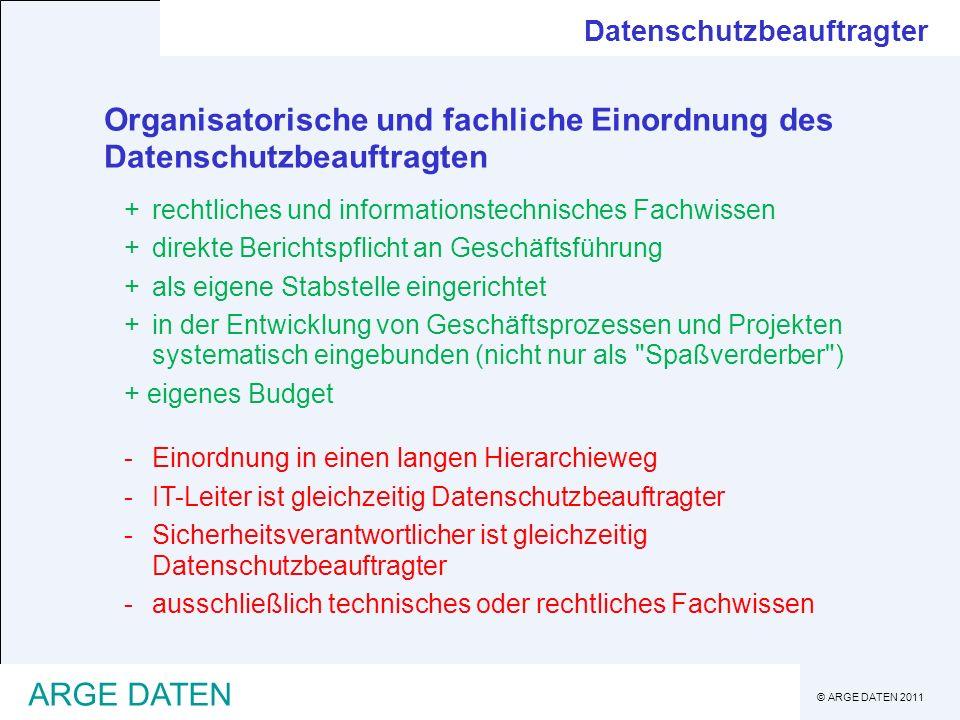 © ARGE DATEN 2011 ARGE DATEN Organisatorische und fachliche Einordnung des Datenschutzbeauftragten +rechtliches und informationstechnisches Fachwissen