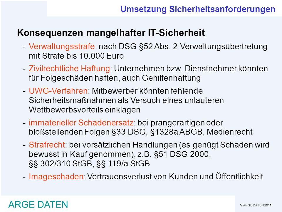 © ARGE DATEN 2011 ARGE DATEN Umsetzung Sicherheitsanforderungen Konsequenzen mangelhafter IT-Sicherheit -Verwaltungsstrafe: nach DSG §52 Abs. 2 Verwal