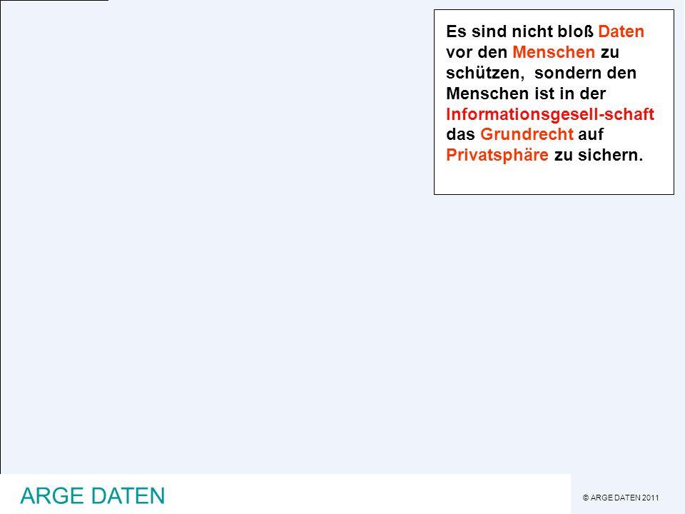 © ARGE DATEN 2011 ARGE DATEN Daten schutz heute International -März 2011 Sony werden mehrere Millionen Benutzerdaten gestohlen Österreich -rund zehn Jahre lang wurden Exekutionsdaten aus dem Justizministerium entwendet -Beamte werden wegen illegaler EKIS-, ZMR- und KFZ-Abfragen verurteilt -GIS-, SP- und FP-Website werden gehackt -Polizistendaten werden veröffentlicht -Sozialversicherungsdaten liegen frei im Netz herum Die Datenschutzdebatte ist auch in Österreich angekommen, sind die Organisationen darauf vorbereitet?