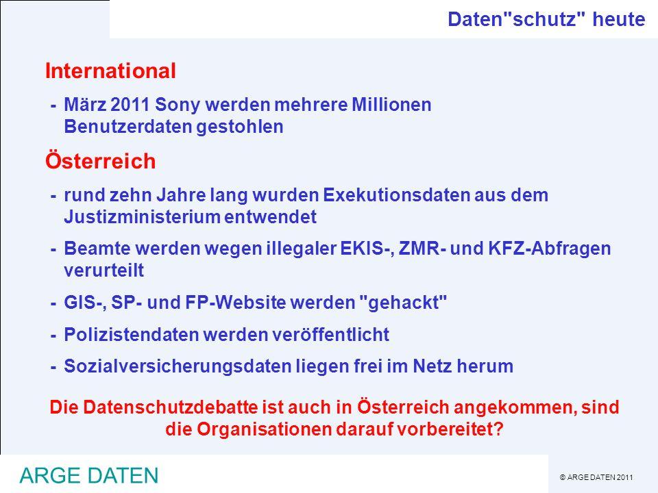 © ARGE DATEN 2011 ARGE DATEN DSG 2000 - Grundlagen Entwicklung zum DSG 2000 1978erstes Datenschutzgesetz - DSG (BGBl.