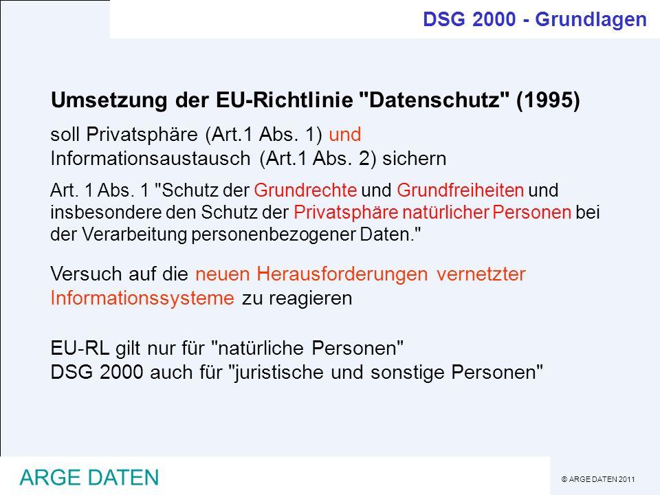 © ARGE DATEN 2011 ARGE DATEN DSG 2000 - Grundrecht Einschränkungen des Verbots ist möglich: - mit der Zustimmung des Betroffenen - zur Vollziehung von Gesetzen (Behörden) - zur Wahrung überwiegender Interessen Auftraggeber/Dritter - bei allgemeiner Verfügbarkeit von Daten - bei lebenswichtigen Interessen des Betroffenen DSG 2000 § 1 (Verfassungsbestimmung) : jede Verwendung persönlicher Daten ist verboten umfassender Geheimhaltungsanspruch Grundlage ist Art.