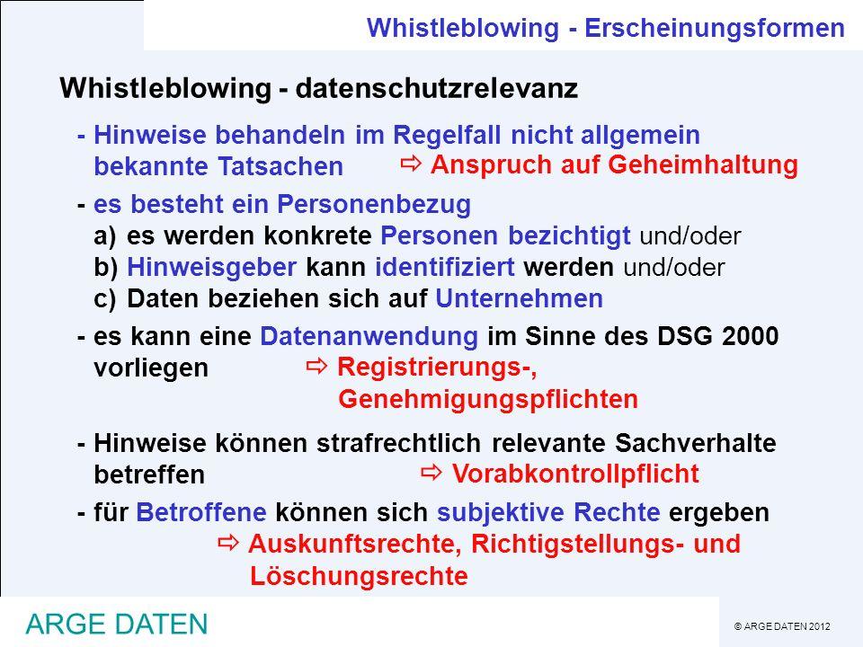 © ARGE DATEN 2012 ARGE DATEN Whistleblowing - Erscheinungsformen Whistleblowing - datenschutzrelevanz -Hinweise behandeln im Regelfall nicht allgemein