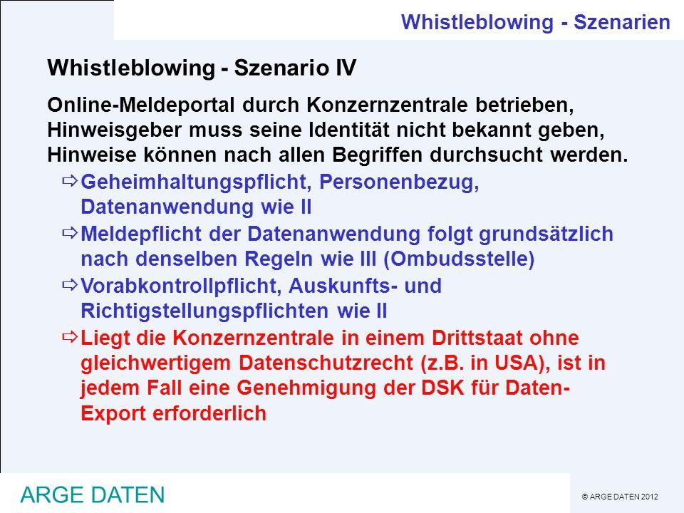 © ARGE DATEN 2012 ARGE DATEN Whistleblowing - Szenario IV Online-Meldeportal durch Konzernzentrale betrieben, Hinweisgeber muss seine Identität nicht