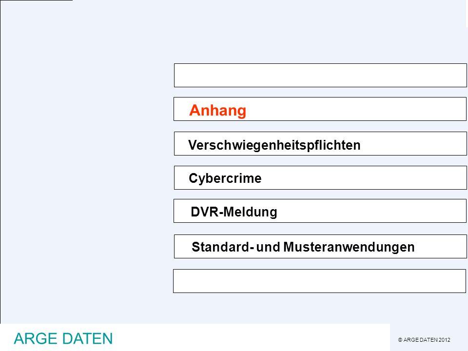 © ARGE DATEN 2012 ARGE DATEN Anhang Verschwiegenheitspflichten Cybercrime Standard- und Musteranwendungen DVR-Meldung