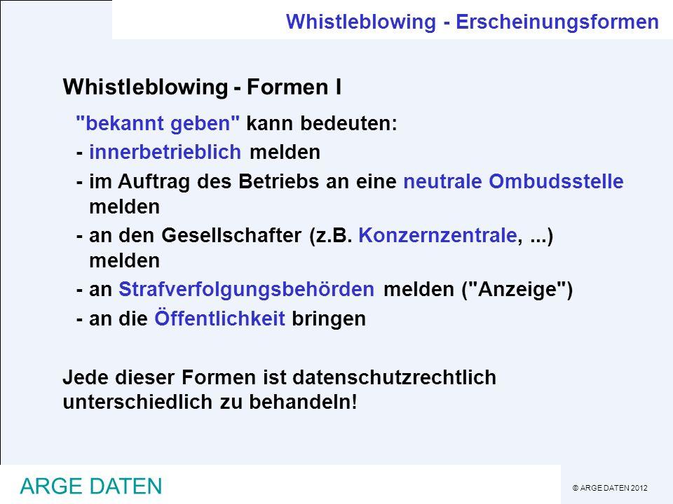 © ARGE DATEN 2012 ARGE DATEN Whistleblowing - Erscheinungsformen Whistleblowing - Formen I
