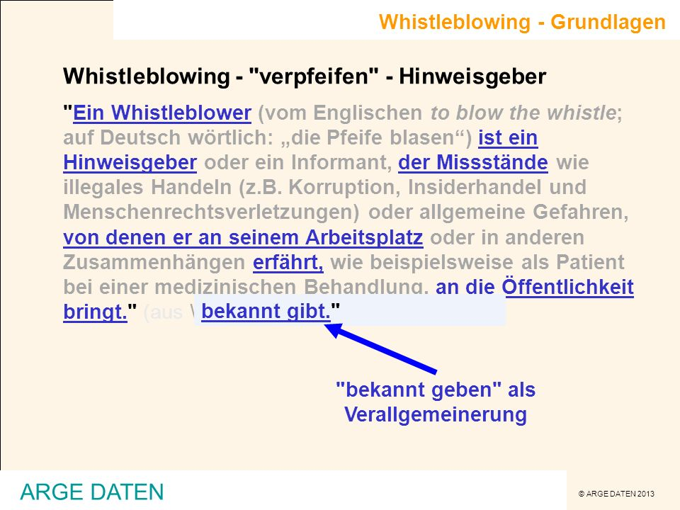 © ARGE DATEN 2013 Whistleblowing - Grundlagen Whistleblowing -