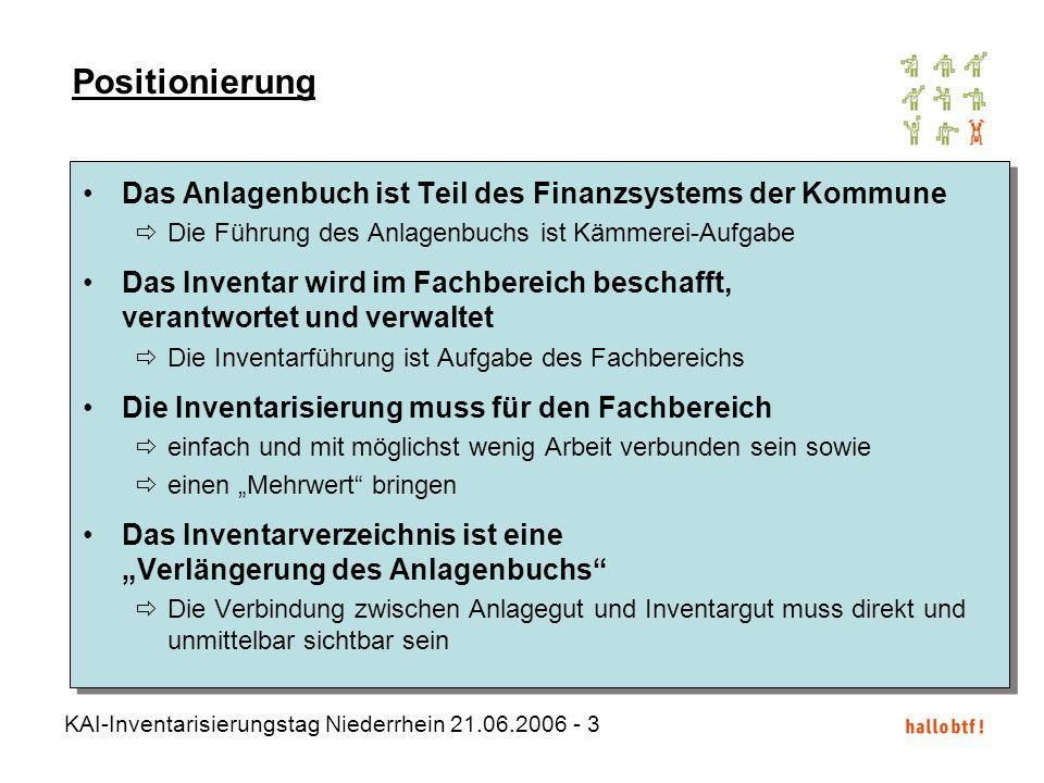 KAI-Inventarisierungstag Niederrhein 21.06.2006 - 3 Das Anlagenbuch ist Teil des Finanzsystems der Kommune Die Führung des Anlagenbuchs ist Kämmerei-A
