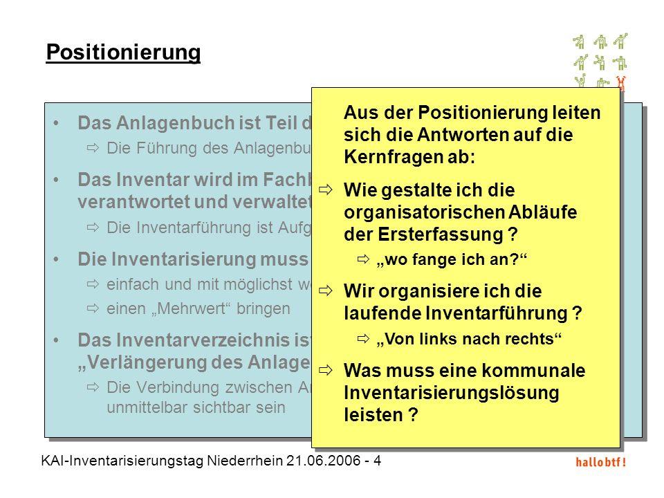 KAI-Inventarisierungstag Niederrhein 21.06.2006 - 4 Das Anlagenbuch ist Teil des Finanzsystems der Kommune Die Führung des Anlagenbuchs ist Kämmerei-A