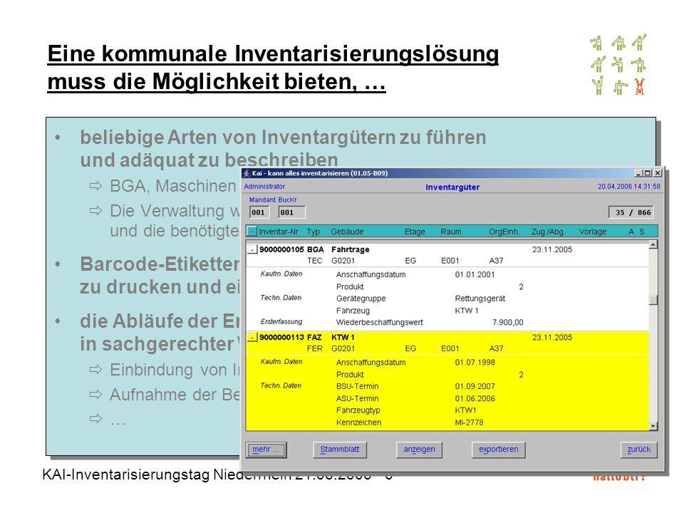 KAI-Inventarisierungstag Niederrhein 21.06.2006 - 6 beliebige Arten von Inventargütern zu führen und adäquat zu beschreiben BGA, Maschinen und Geräte,