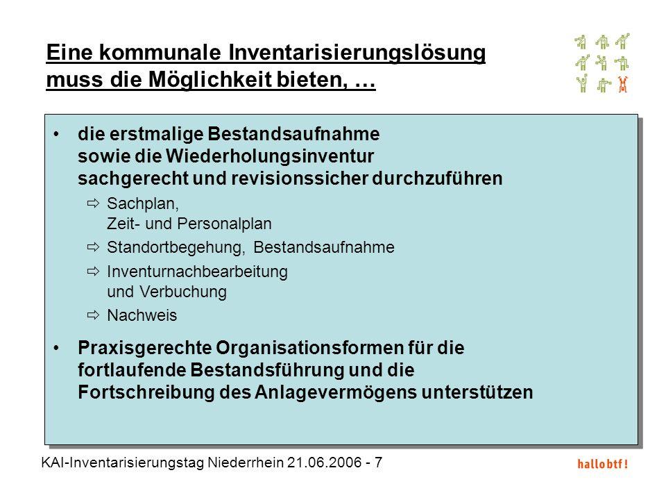 KAI-Inventarisierungstag Niederrhein 21.06.2006 - 7 Eine kommunale Inventarisierungslösung muss die Möglichkeit bieten, … die erstmalige Bestandsaufna