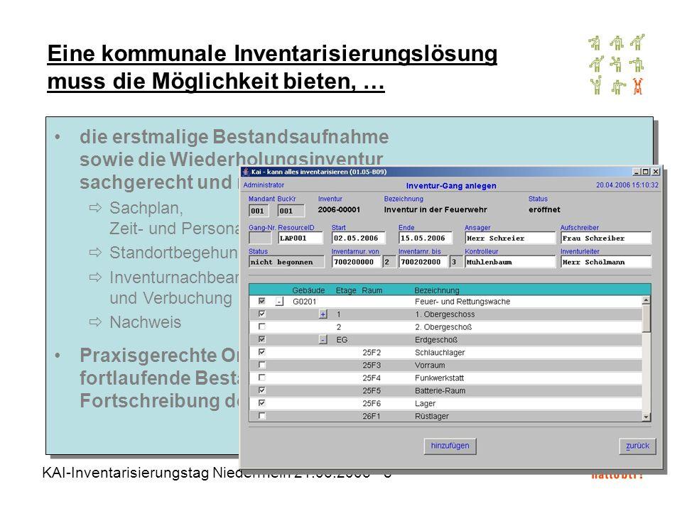 KAI-Inventarisierungstag Niederrhein 21.06.2006 - 9 Eine kommunale Inventarisierungslösung muss die Möglichkeit bieten, … die Beziehung zwischen Inventargegenstand und Anlagegut darzustellen 1:1-Anlagegüter Fest- und Gruppenwerte Welche Inventargüter gehören zum Anlagegut Sauerstoff-Flaschen bis 12 ltr .