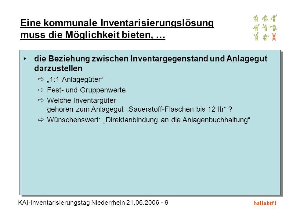 KAI-Inventarisierungstag Niederrhein 21.06.2006 - 10 Eine kommunale Inventarisierungslösung muss die Möglichkeit bieten, … die Beziehung zwischen Inventargegenstand und Anlagegut darzustellen 1:1-Anlagegüter Fest- und Gruppenwerte Welche Inventargüter gehören zum Anlagegut Sauerstoff-Flaschen bis 12 ltr .