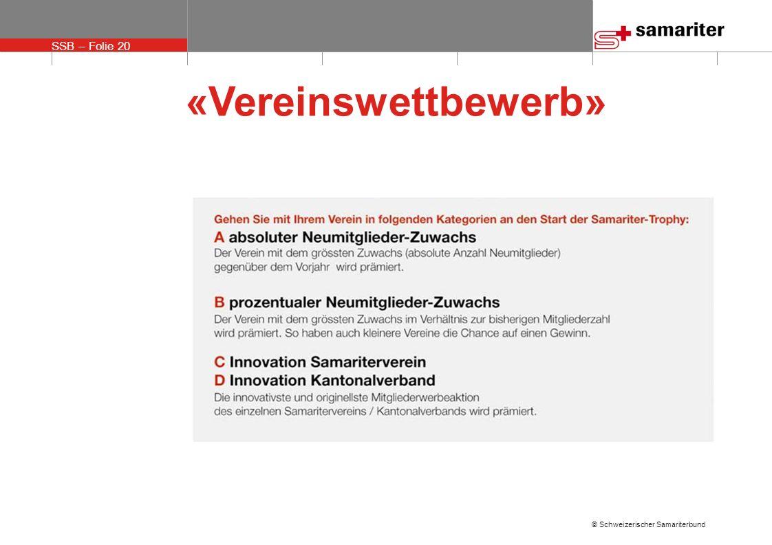 SSB – Folie 20 © Schweizerischer Samariterbund «Vereinswettbewerb»