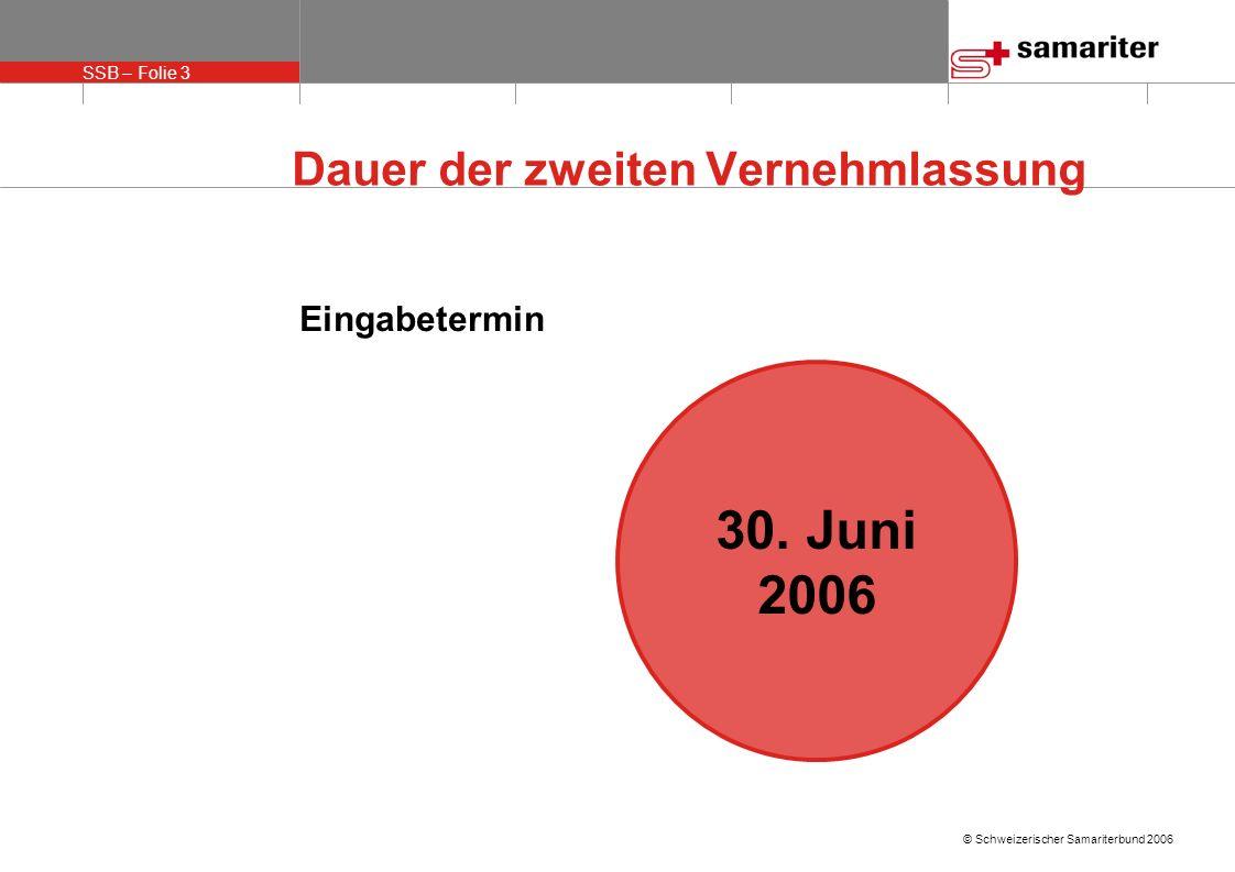 SSB – Folie 3 © Schweizerischer Samariterbund 2006 Dauer der zweiten Vernehmlassung Eingabetermin 30. Juni 2006