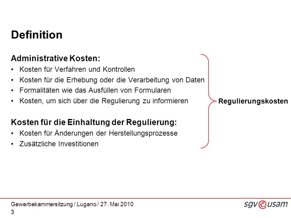 Gewerbekammersitzung / Lugano / 27. Mai 2010 Definition Administrative Kosten: Kosten für Verfahren und Kontrollen Kosten für die Erhebung oder die Ve