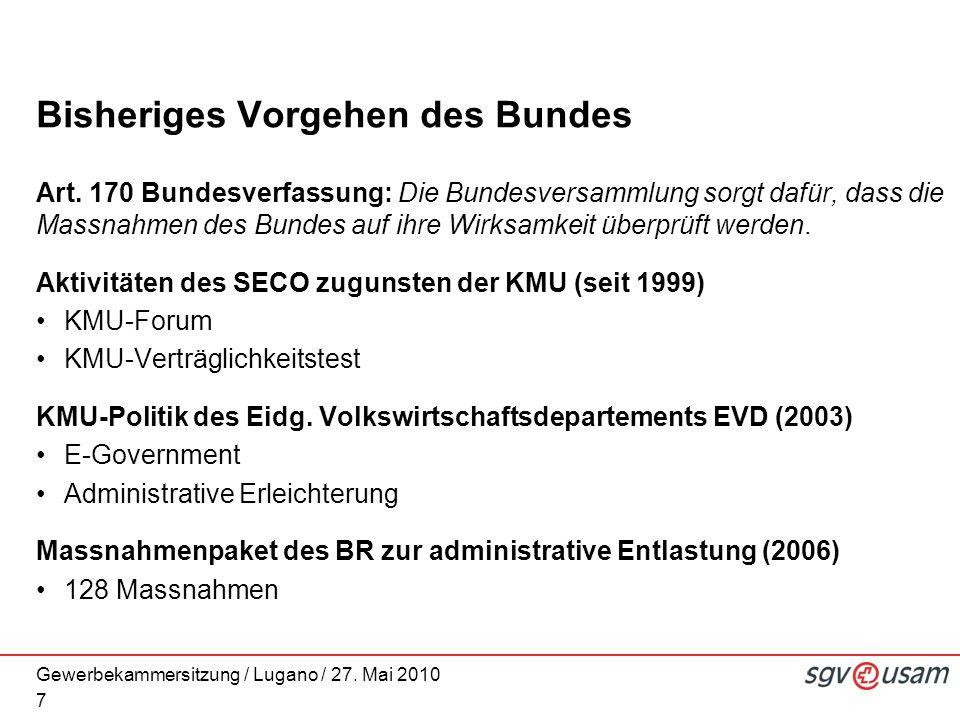 Gewerbekammersitzung / Lugano / 27. Mai 2010 Bisheriges Vorgehen des Bundes Art. 170 Bundesverfassung: Die Bundesversammlung sorgt dafür, dass die Mas