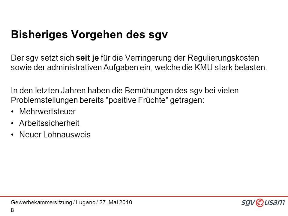 Gewerbekammersitzung / Lugano / 27. Mai 2010 Bisheriges Vorgehen des sgv Der sgv setzt sich seit je für die Verringerung der Regulierungskosten sowie