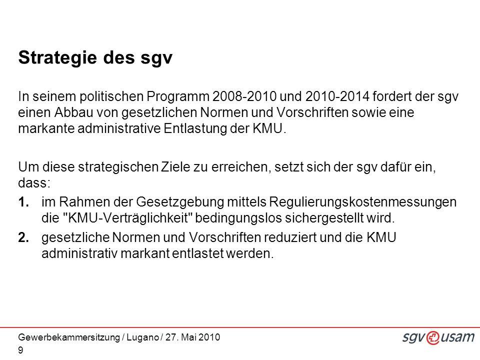 Gewerbekammersitzung / Lugano / 27. Mai 2010 Strategie des sgv In seinem politischen Programm 2008-2010 und 2010-2014 fordert der sgv einen Abbau von