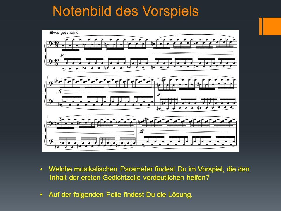 Notenbild des Vorspiels Welche musikalischen Parameter findest Du im Vorspiel, die den Inhalt der ersten Gedichtzeile verdeutlichen helfen.