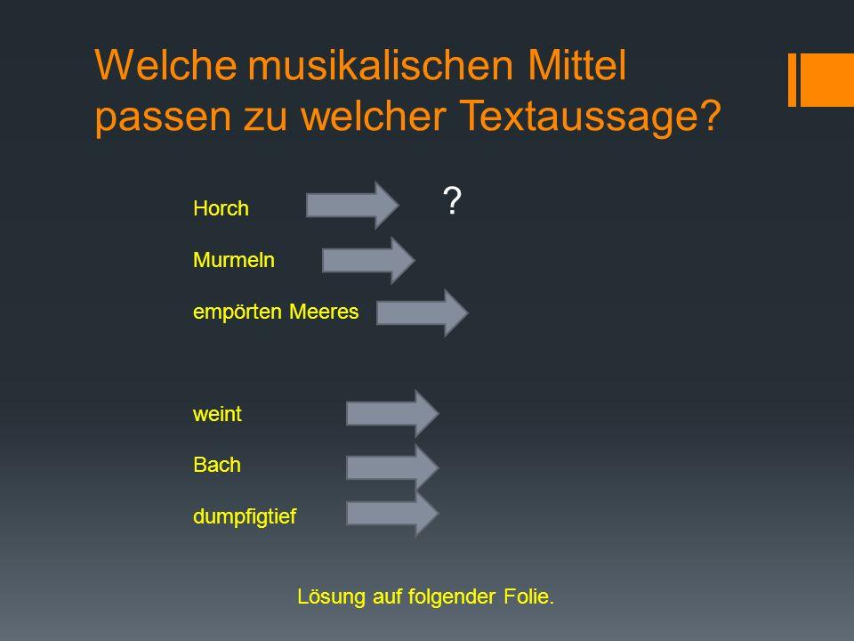 Welche musikalischen Mittel passen zu welcher Textaussage? Horch Murmeln empörten Meeres weint Bach dumpfigtief Lösung auf folgender Folie. ?