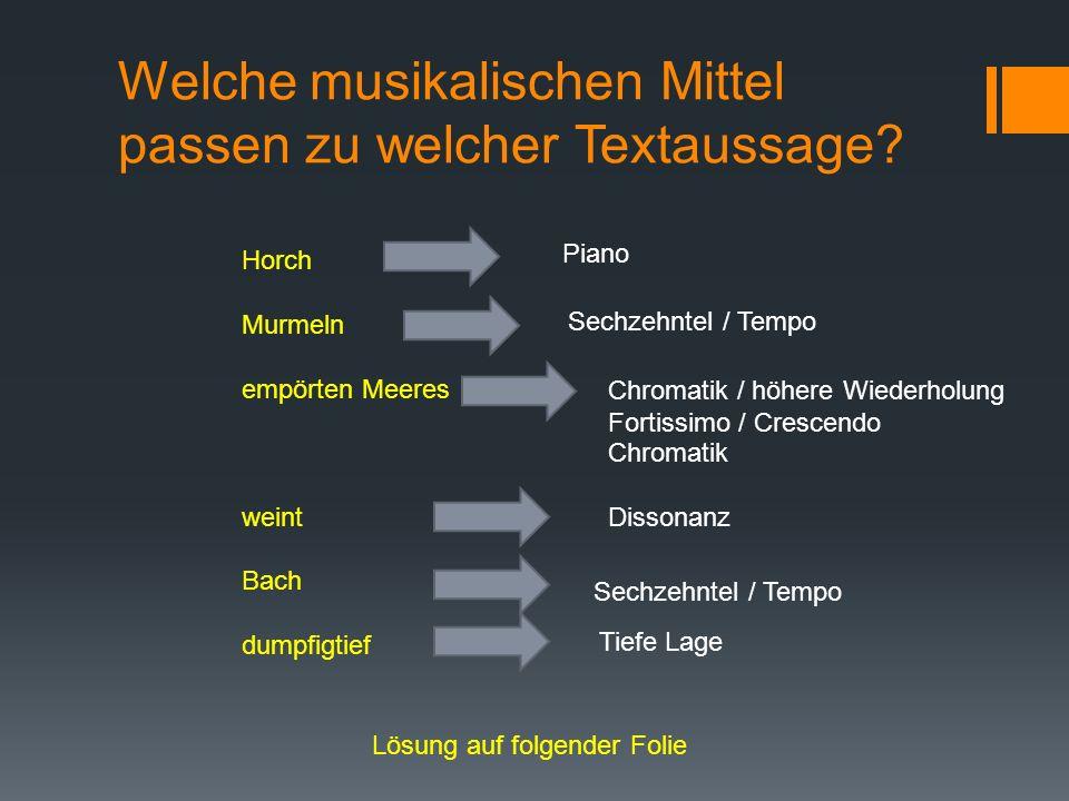 Welche musikalischen Mittel passen zu welcher Textaussage? Horch Murmeln empörten Meeres weint Bach dumpfigtief Piano Sechzehntel / Tempo Chromatik /