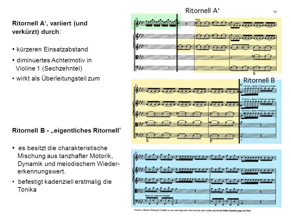Ritornell A, variiert (und verkürzt) durch : kürzeren Einsatzabstand diminuertes Achtelmotiv in Violine 1 (Sechzehntel) wirkt als Überleitungsteil zum Ritornell B - eigentliches Ritornell es besitzt die charakteristische Mischung aus tanzhafter Motorik, Dynamik und melodischem Wieder- erkennungswert.