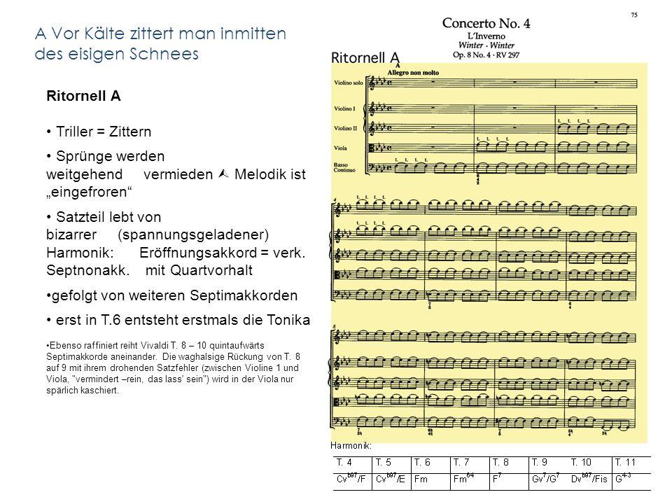 Ritornell A Triller = Zittern Sprünge werden weitgehend vermieden Melodik ist eingefroren Satzteil lebt von bizarrer (spannungsgeladener) Harmonik: Eröffnungsakkord = verk.