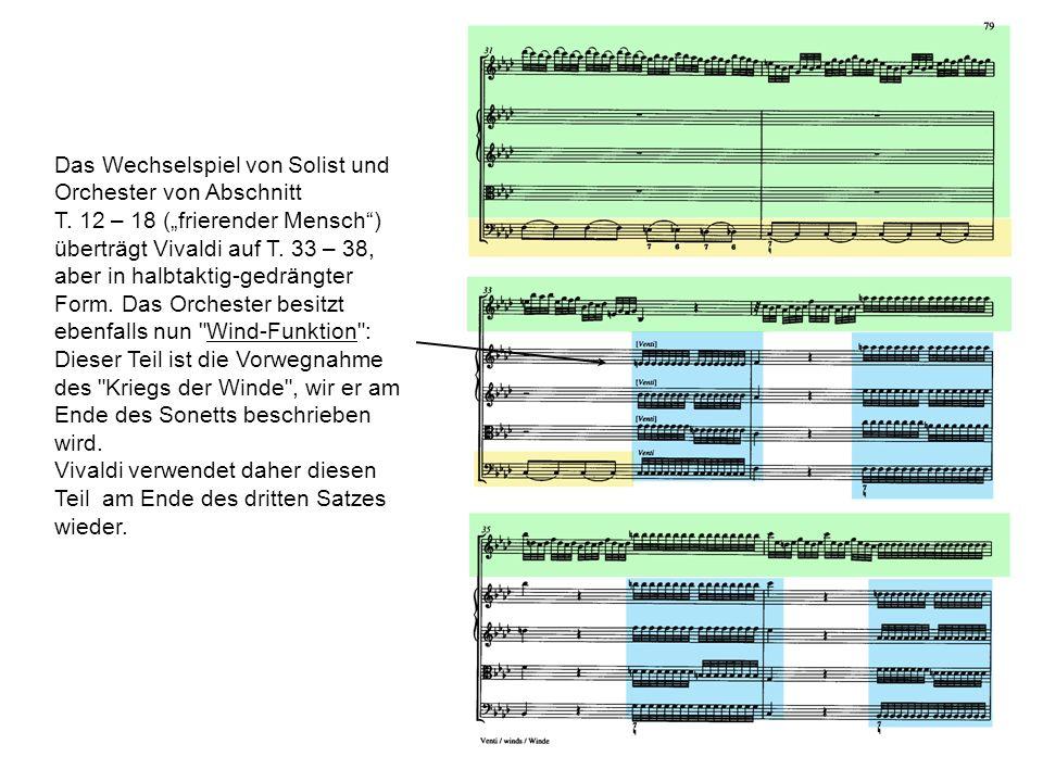 Das Wechselspiel von Solist und Orchester von Abschnitt T. 12 – 18 (frierender Mensch) überträgt Vivaldi auf T. 33 – 38, aber in halbtaktig-gedrängter