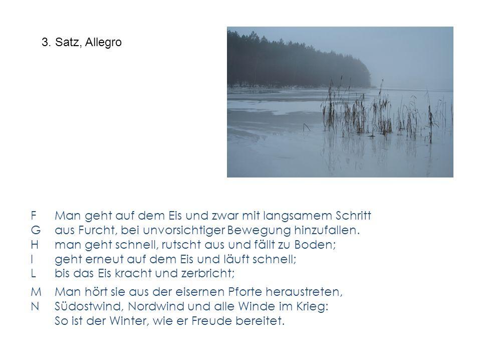 3. Satz, Allegro F Man geht auf dem Eis und zwar mit langsamem Schritt G aus Furcht, bei unvorsichtiger Bewegung hinzufallen. H man geht schnell, ruts