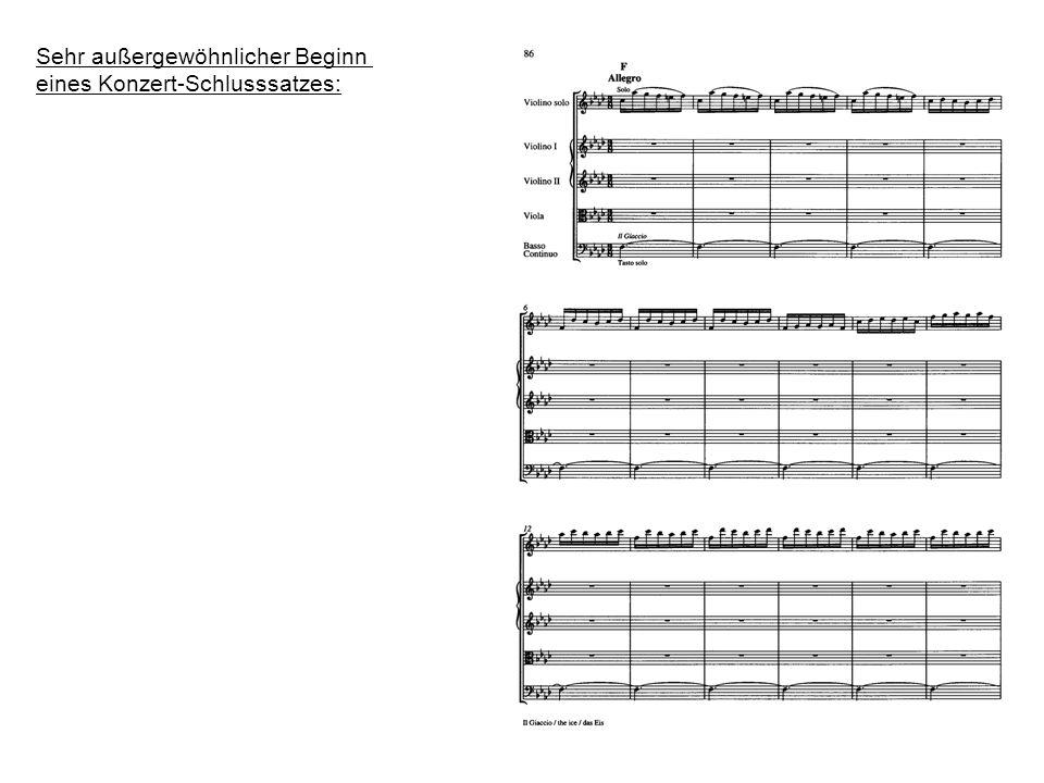 Sehr außergewöhnlicher Beginn eines Konzert-Schlusssatzes: Fünf Viertakter als monotone Sechzehntelkette, => (Kreis-) Bewegung Jeder Viertakter = 4 x eintaktige, ostinate Figur Ausdrucksgehalt : Monotonie einer Bewegung Nur Veränderung im Tonhöhenverlauf => Entfernungswechsel des Akteurs.