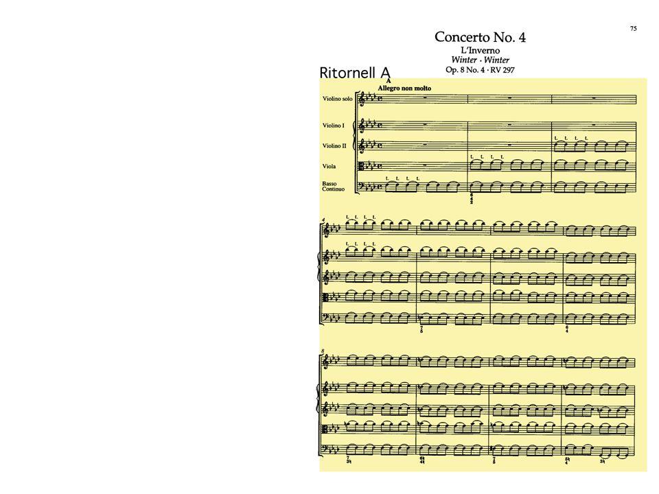 Ritornell A - untypisches Ritornell: es fehlt jegliche Melodik es beginnt mit der Bassstimme polyphone Anfangsschichtung Anfang ohne Tonika, erst in T.6 entsteht erstmals die Tonika; Ritornell kadenziert auch nach c-Moll (V.