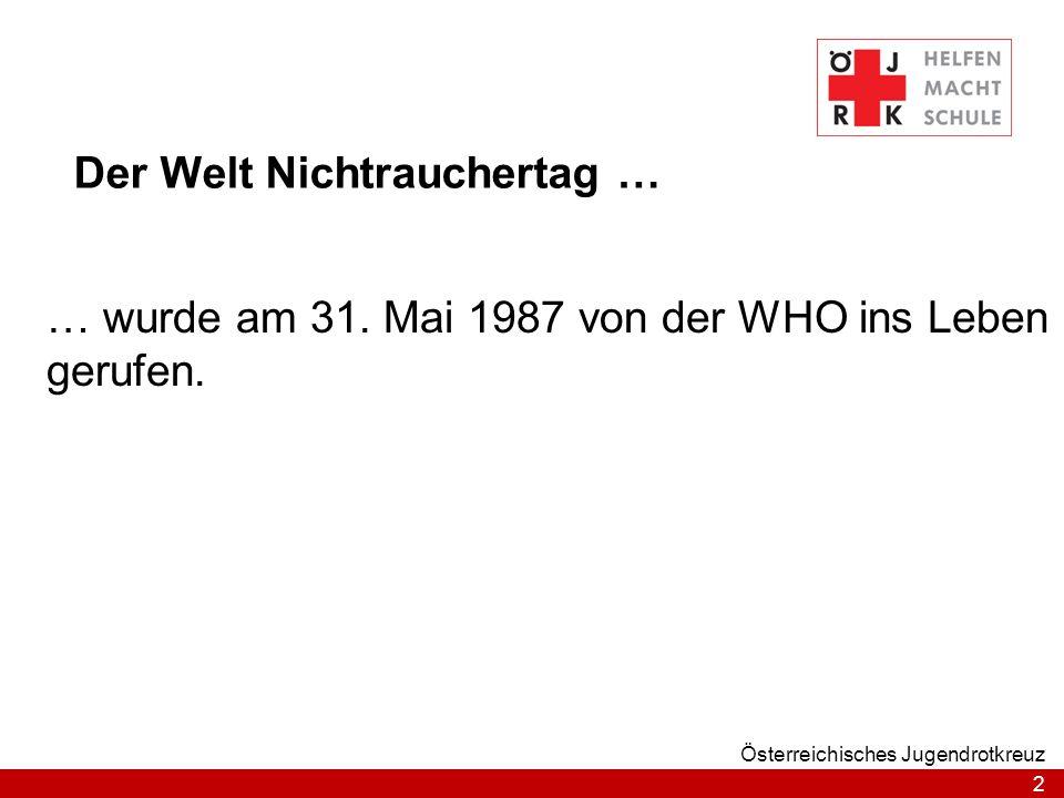 2 Österreichisches Jugendrotkreuz Der Welt Nichtrauchertag … … wurde am 31. Mai 1987 von der WHO ins Leben gerufen.