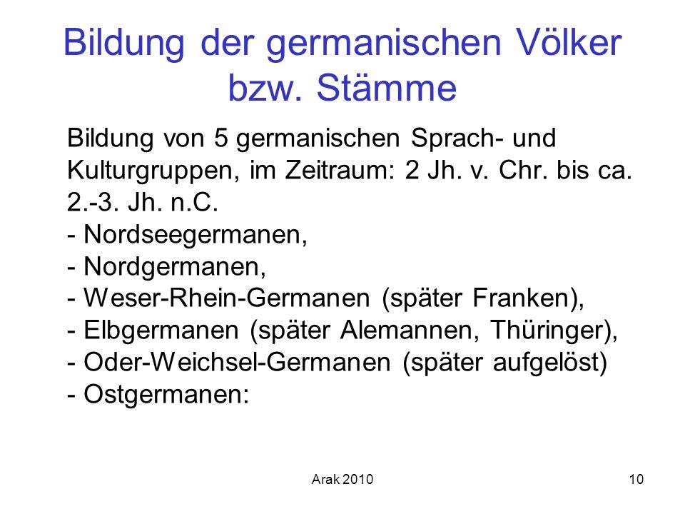 Arak 201010 Bildung der germanischen Völker bzw. Stämme Bildung von 5 germanischen Sprach- und Kulturgruppen, im Zeitraum: 2 Jh. v. Chr. bis ca. 2.-3.