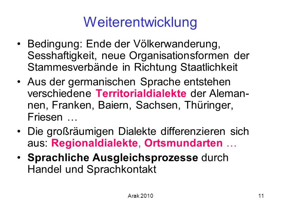 Arak 201011 Weiterentwicklung Bedingung: Ende der Völkerwanderung, Sesshaftigkeit, neue Organisationsformen der Stammesverbände in Richtung Staatlichk