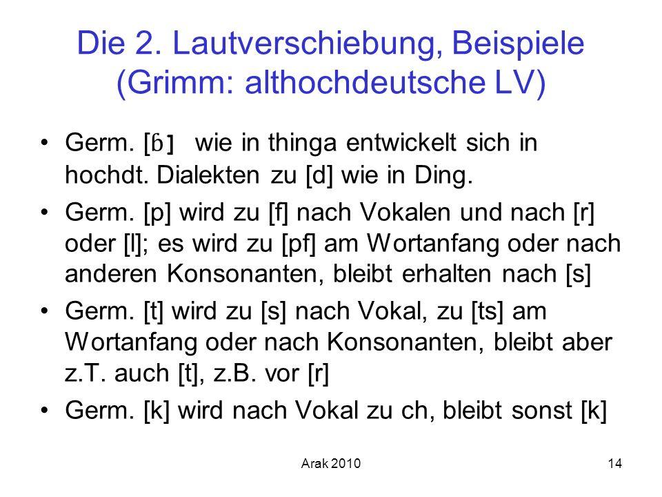 Arak 201014 Die 2. Lautverschiebung, Beispiele (Grimm: althochdeutsche LV) Germ. [ ɓ ] wie in thinga entwickelt sich in hochdt. Dialekten zu [d] wie i