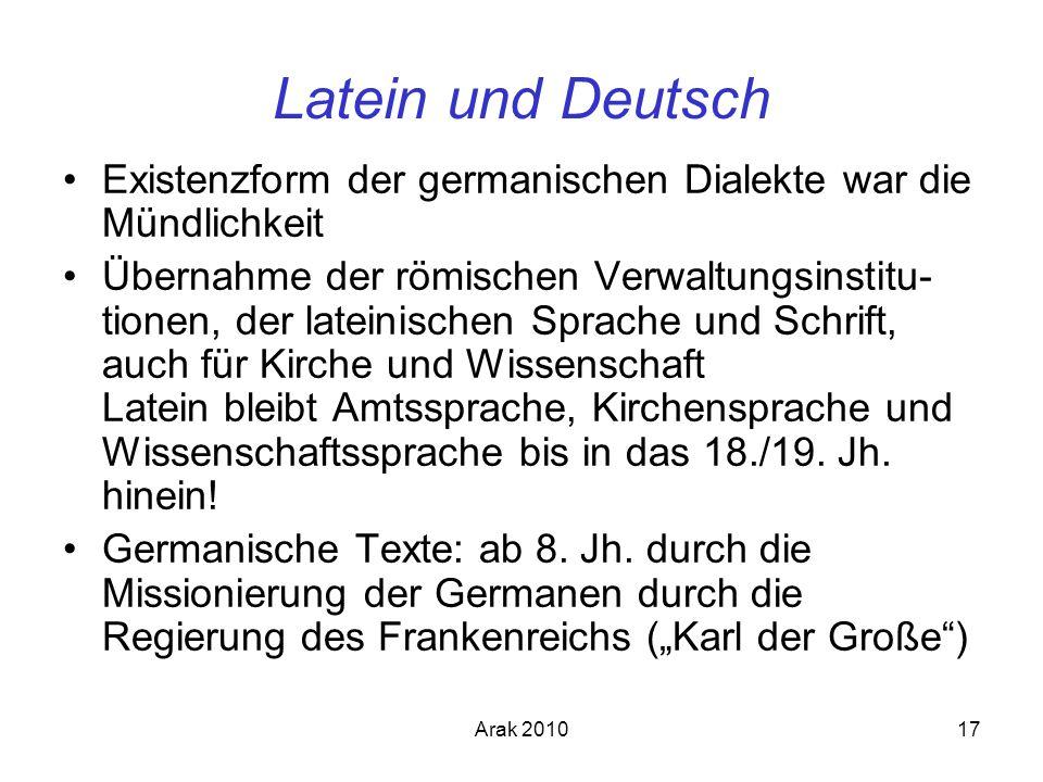 Arak 201017 Latein und Deutsch Existenzform der germanischen Dialekte war die Mündlichkeit Übernahme der römischen Verwaltungsinstitu- tionen, der lat