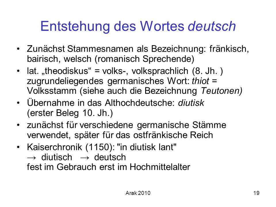 Arak 201019 Entstehung des Wortes deutsch Zunächst Stammesnamen als Bezeichnung: fränkisch, bairisch, welsch (romanisch Sprechende) lat. theodiskus =