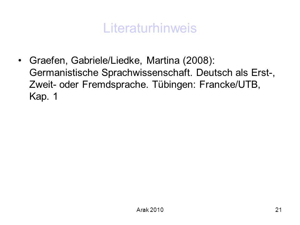 Arak 201021 Literaturhinweis Graefen, Gabriele/Liedke, Martina (2008): Germanistische Sprachwissenschaft. Deutsch als Erst-, Zweit- oder Fremdsprache.