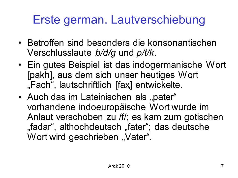 Arak 20107 Erste german. Lautverschiebung Betroffen sind besonders die konsonantischen Verschlusslaute b/d/g und p/t/k. Ein gutes Beispiel ist das ind